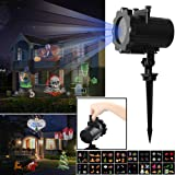LED Projector Landscape Lights OKPOW Waterproof Snowflake Spotlight with 16 Interchangeable Slides Flim Lamp for Christmas Halloween Birthday Wedding Party Outdoor Indoor Home Decor