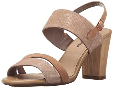Hush Puppies Women's Molly Malia Dress Sandal, Tan Scratched Leather, ...