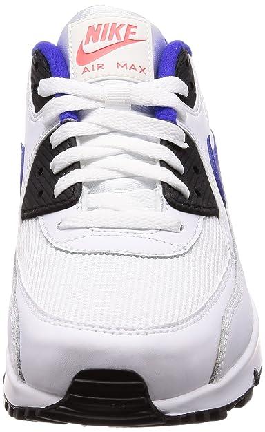 Nike Air Max 90 Essential, Baskets Homme, Blanc (WhiteBleu