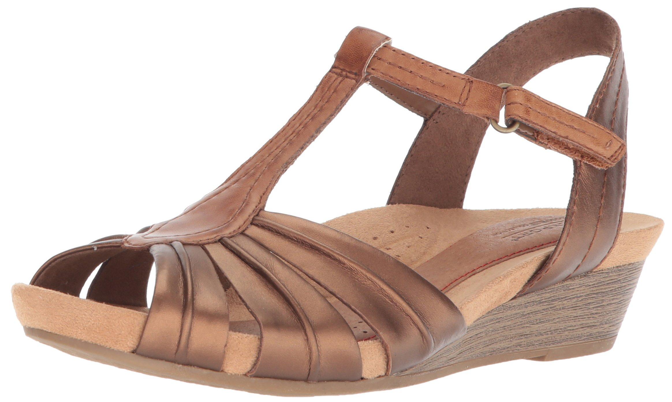 Cobb Hill Women's Hollywood Pleat T Sandal, Bronze, 7.5 M US