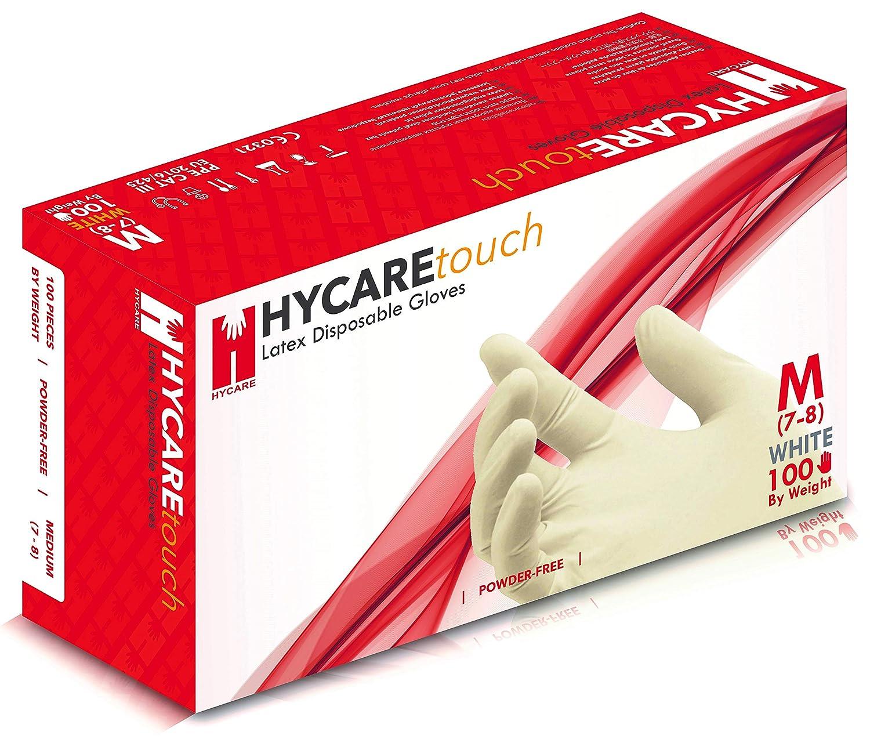 Hycare Guantes Desechables sin Polvo de Látex, Talla M (Paquete de 100)
