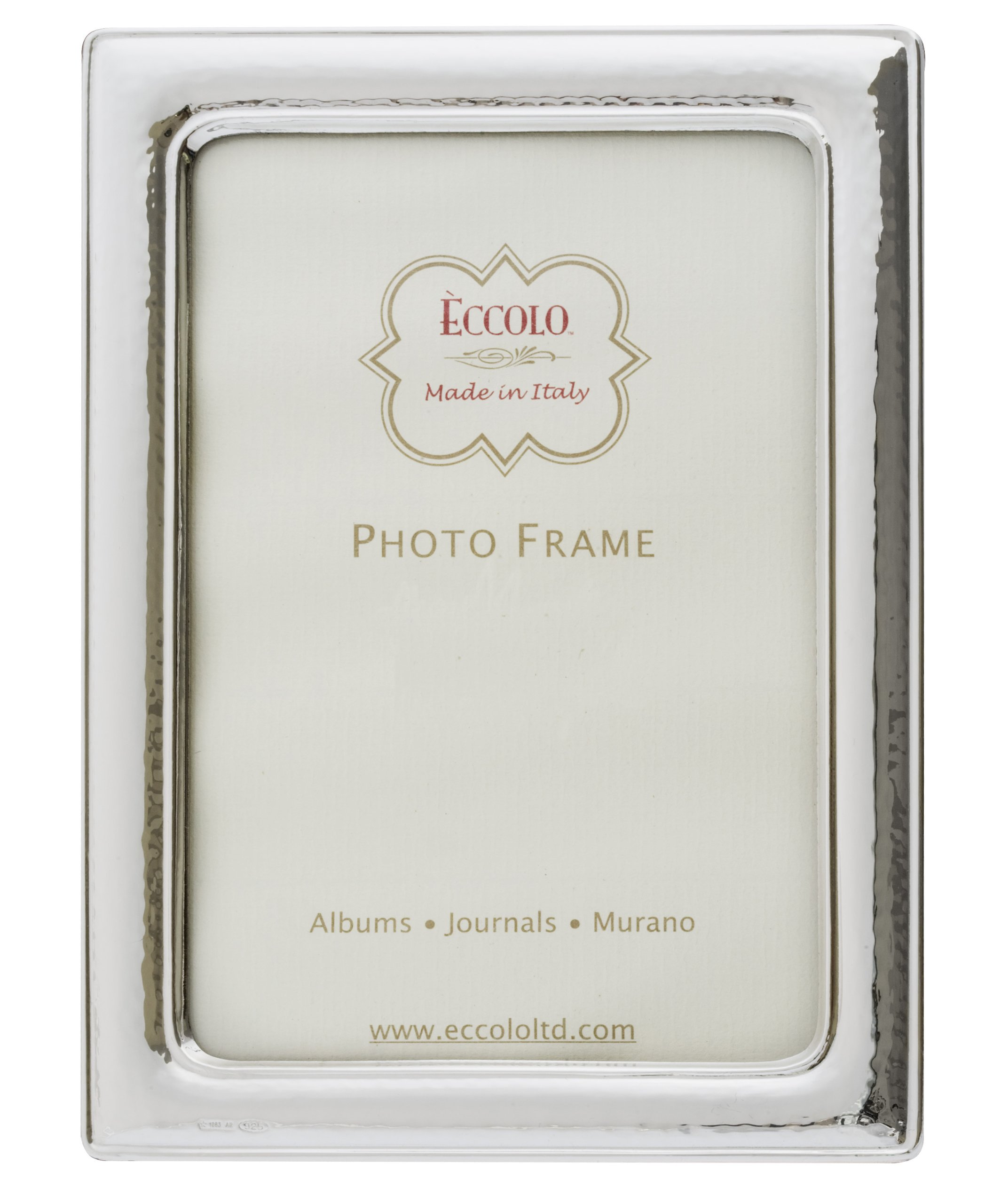 Eccolo Made In Italy Sterling Silver Frame, Narrow Hammered, Holds a 5 x 7-Inch Photo