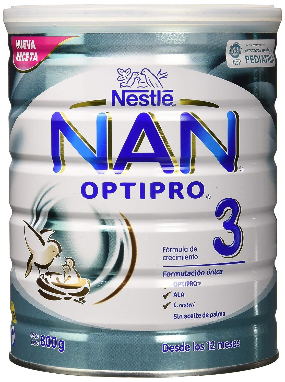 NAN OPTIPRO 3 - A partir de los 12 meses - Fórmula de crecimiento en polvo - Preparado lácteo infantil - 800g Sin Aceite de Palma: Amazon.es: Alimentación y ...