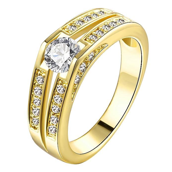 Anillo de compromiso para mujer, chapado en oro amarillo o rosa, con circonitashttps://amzn.to/2MRolrO