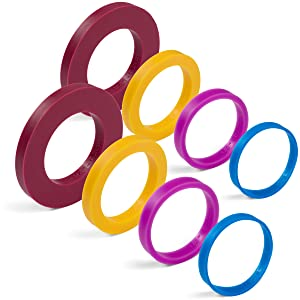 """GreenOlive Rolling Pin Guide Ring Spacer Bands (8 Piece Set) Multicolored Flexible Silicone Slip On Baking Accessories Fit 1 3/4"""" to 2"""" Wide Dough Rollers"""