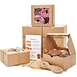 Premium 6x6x3 Inches Cookie Boxes with Window [50 Pack] - Extra Thick & Oil Resistant | Brown Bakery Boxes for Cookies, Donuts, Small Cake, Cake Slice & Other Pastries!