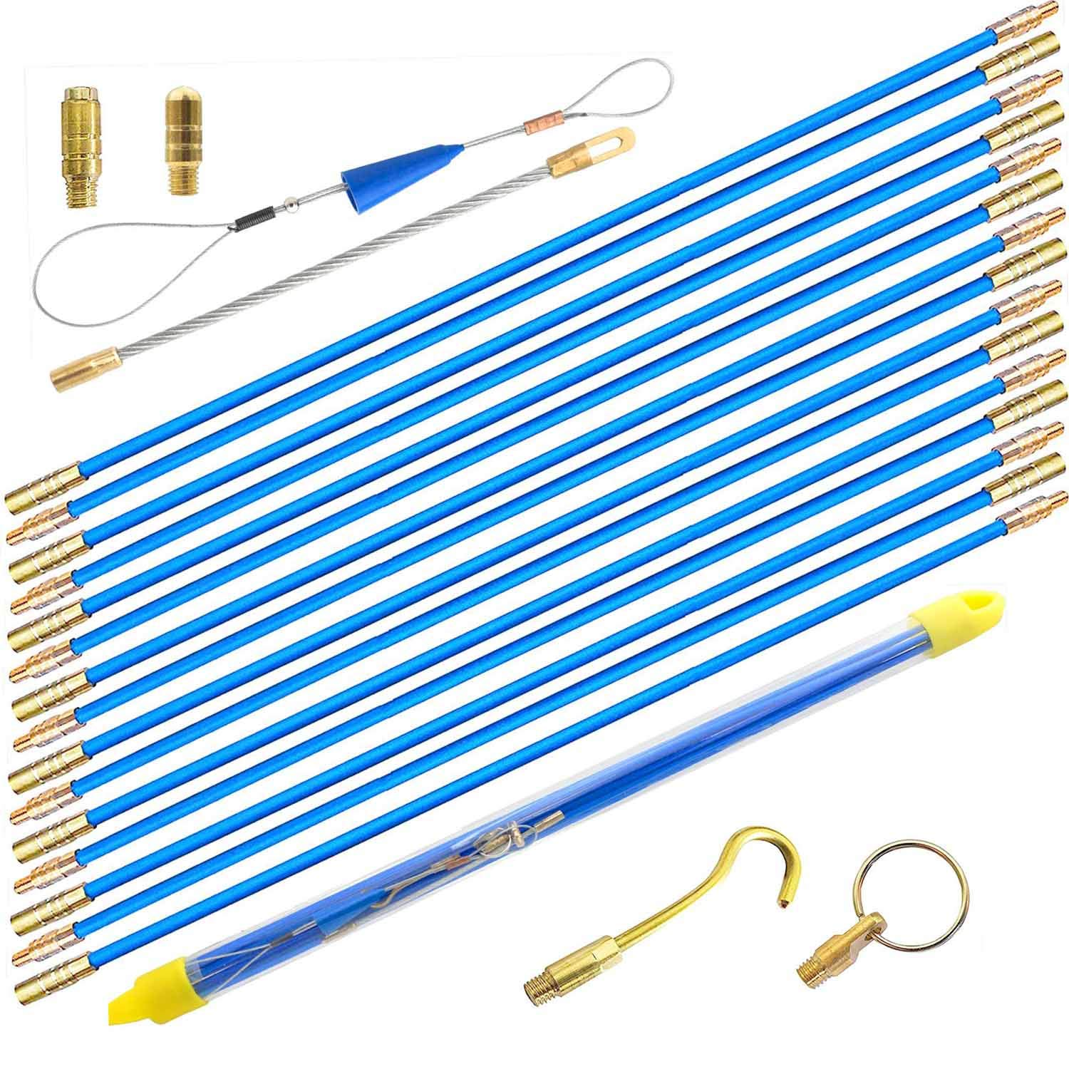 50' Wire Noodler Fiberglass Cable Wire Running Rod Coaxial Electrical Connectable Fish Tape Pull Kit With Hook And Hole Kit In Transparent Tube, Blue by WXTOOLS