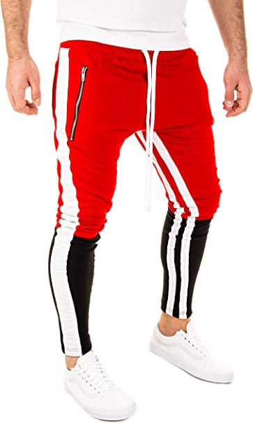 PITTMAN Pantalones Deporte Hombre Pista Retro Biker Chándal ...