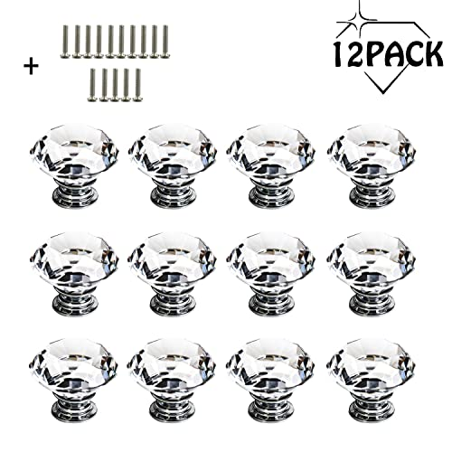 Crystal Door Knobs - 12 Pcs 30MM Glass Drawer Knobs Crystal Door Handles Diamond Pulls with Screws for Home Kitchen Office Chest Cabinet Drawer