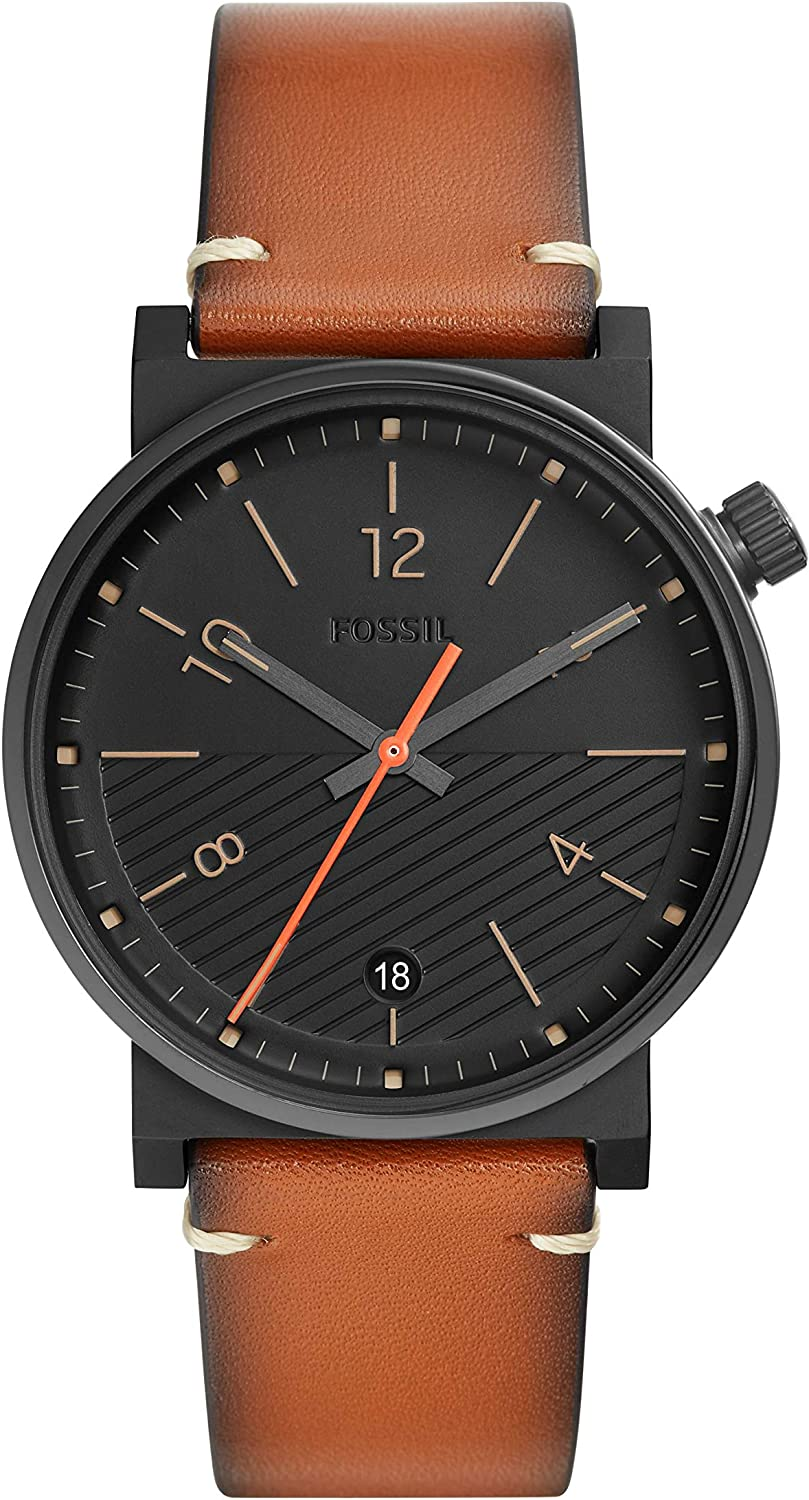 Fossil Mens Barstow Stainless Steel Quartz Watch with Leather Strap