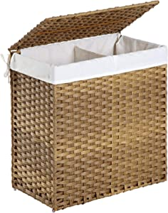 SONGMICS Divided Laundry Hamper, Handwoven  Laundry Basket, Synthetic Rattan Clothes  Hamper with Removable Liner Bag, Natural ULCB52NL