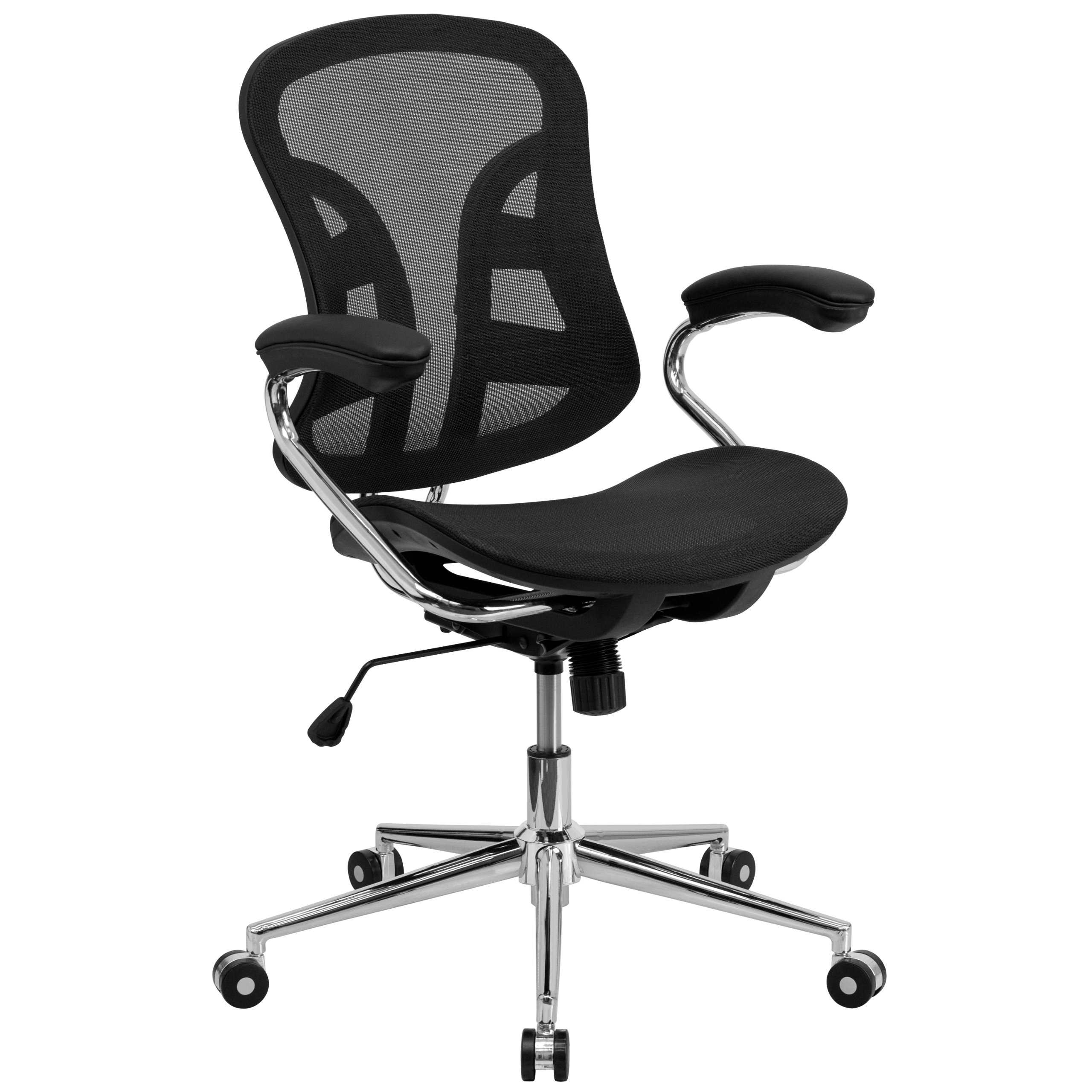 Flash Furniture Mid-Back Transparent Black Mesh Swivel Task Chair with Chrome Base and Arms