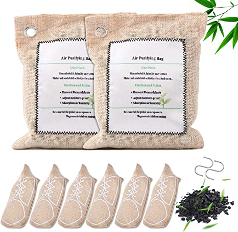Amazon Com 8 Pack Green Bamboo Charcoal Bag Activated Charcoal Odor Remover Air Freshener Eco Friendly Odor Absorber For Shoes Closet Car Wardrobe Kitchen Dining