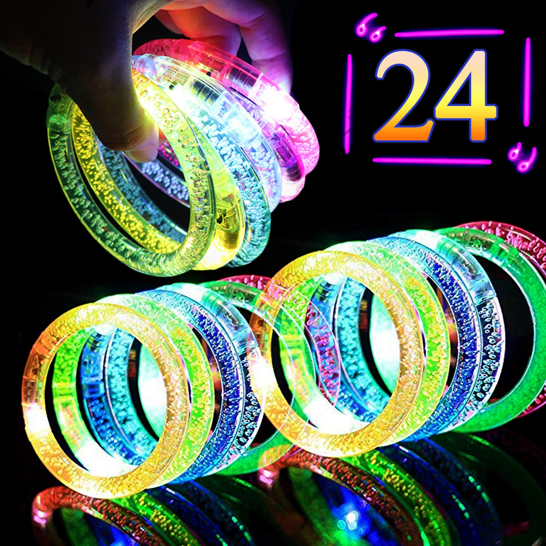 Kakary 24PCS Light Up Bracelets Flashing Colorful LED Bracelet Glow in The Dark Party Supplies,Fluorescence Stick Glow Bracelet Light Up Toys for Wedding,Birthdays,Concert,Night Games Rave Party