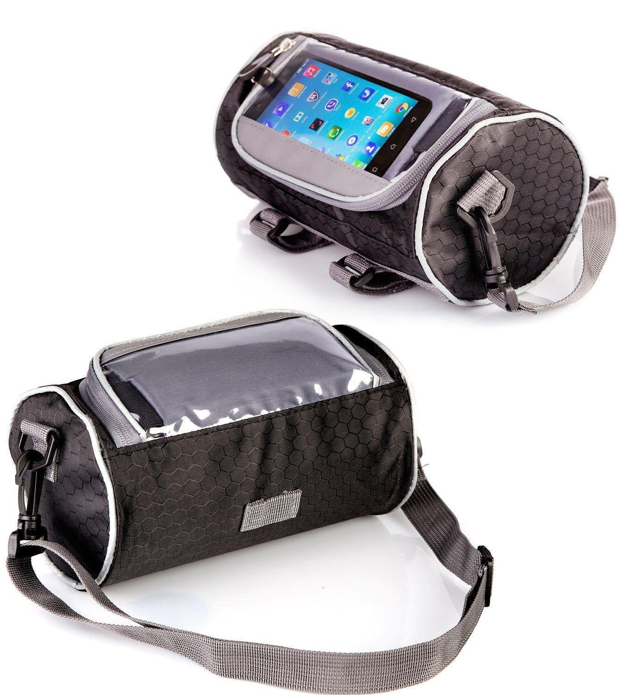 Boxiki travel Bicycle Handlebar Bag for Road Bikes, Mountain Bikes & Motorcycles. Bike Pannier Pouch w/Touchscreen Phone Holder. Waterproof Bike Frame Storage Bag Removable Shoulder Strap by Boxiki travel (Image #2)