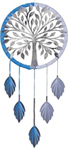 Luxury Glossy Reflective Silver Tree of Life Bodhi Dream Catcher Precision Laser Cut Mirror-Surface Acrylic Silver Tree and Hanging Acrylic Silver Leaves Size: 30.5 x 61 cms, 12 x 24 inches