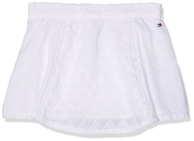 Tommy Hilfiger Ame Geo Shiffley Skirt, Falda Niños, Blanco (Bright White 122)