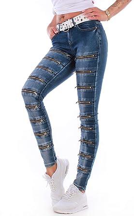 aaca0cecad1d4b BD Damen Röhrenjeans Hosen, Hüftjeans, Röhre Jeans, Slim, Skinny in blau  Zierzippern: Amazon.de: Bekleidung