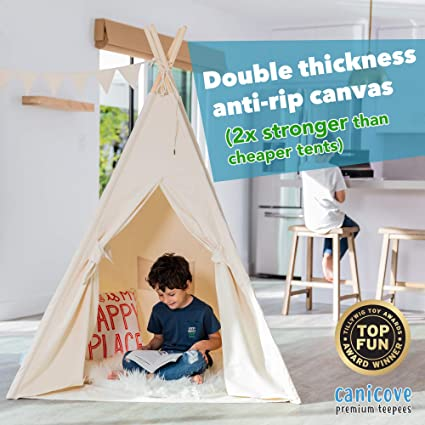 huge selection of 490fd 5c7e1 Canicove Teepee Tent for Kids - Award Winning 100% Cotton Play Tent - Large  Indoor/Outdoor Tipi for Boys & Girls + Free Fun Flags!