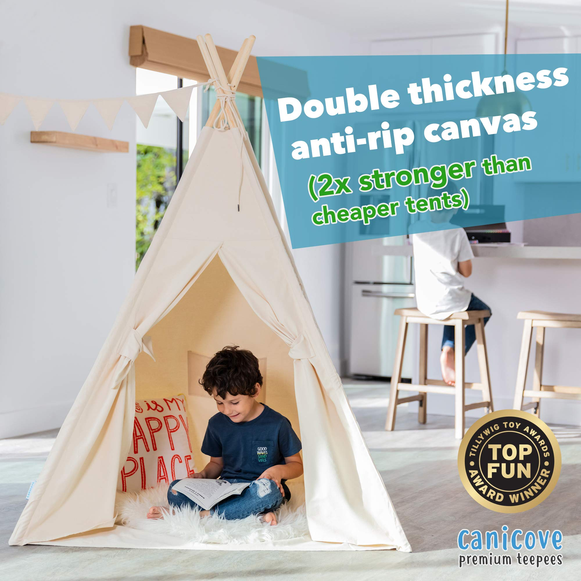 Canicove Teepee Tent for Kids - Award Winning 100% Cotton Play Tent - Large Indoor/Outdoor Tipi for Boys & Girls + Free Fun Flags! by Canicove (Image #2)