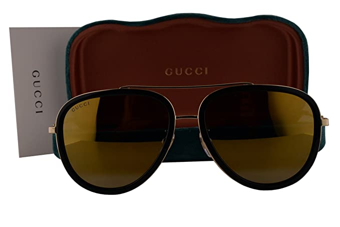 b8ccce7ad5a Image Unavailable. Image not available for. Colour  Gucci GG0062S Sunglasses  Shiny Black w Gold Mirror Lens 001 ...