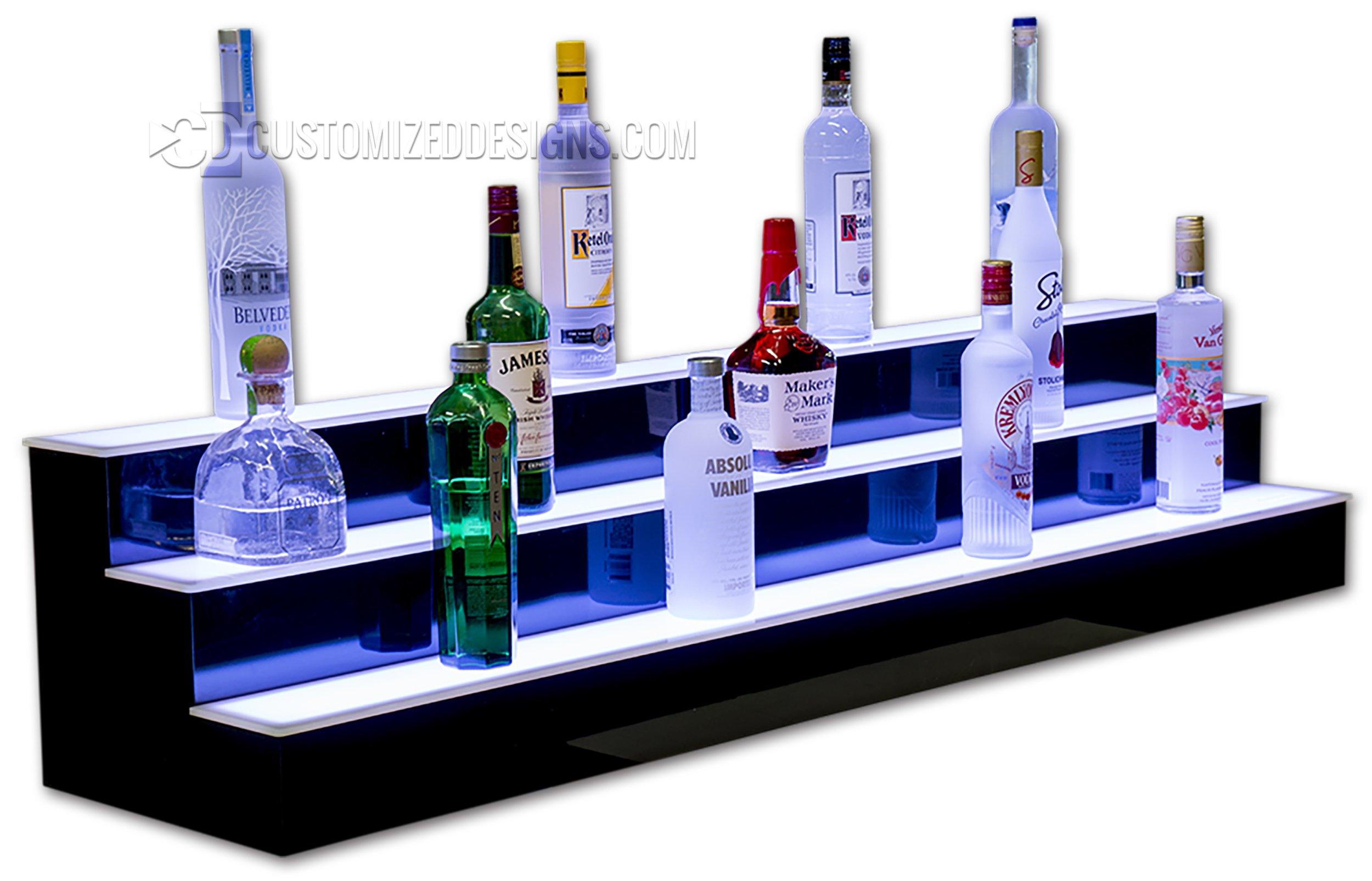 60'' 3 Step Led Illluminated Commercial Grade Back Bar Shelving, Programmable LED Lighting