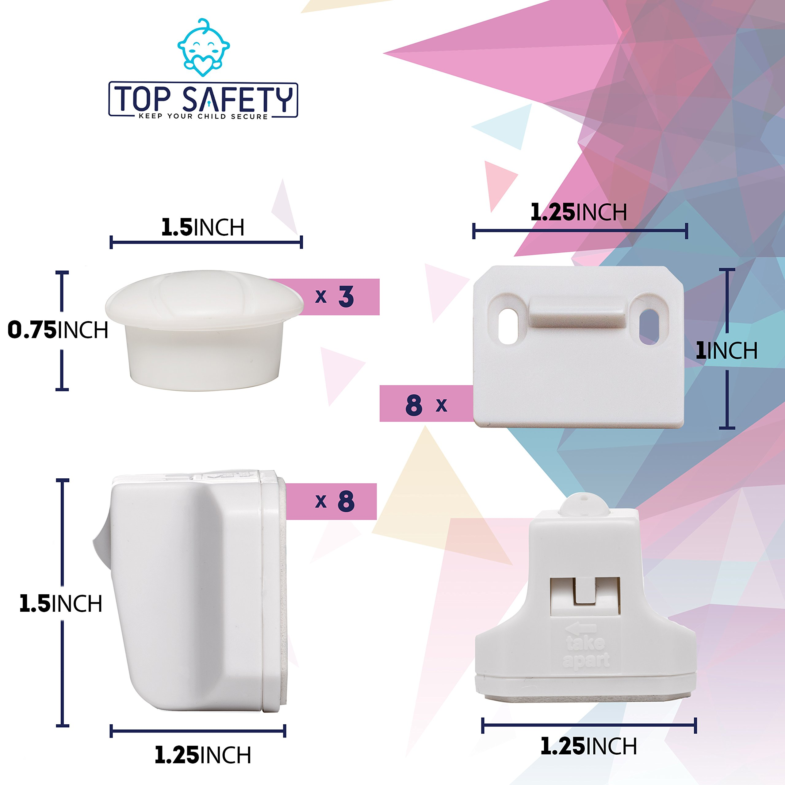 Baby Proof Magnetic Cabinet Locks - 8 Child Safety Locks Adhesive No Drill Invisible Drawer Locks for Baby Safety Child Proof Baby Proofing Cabinets Drawers Dresser Top Safety Baby Child Lock Cabinet by Top Safety (Image #7)