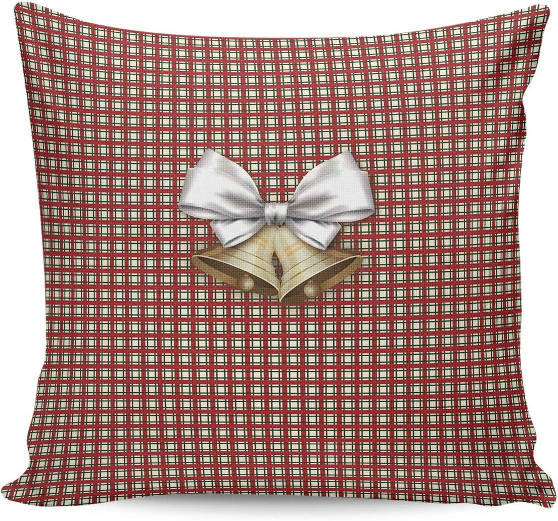 DoremiHome Cotton Linen Throw Pillow Covers 24x24inch, Xmas Theme Pillowcases for Couch Sofa, Decorative Cushion Cover Machine Washable - Christmas Bell with Red White Buffalo Check Plaid Pattern
