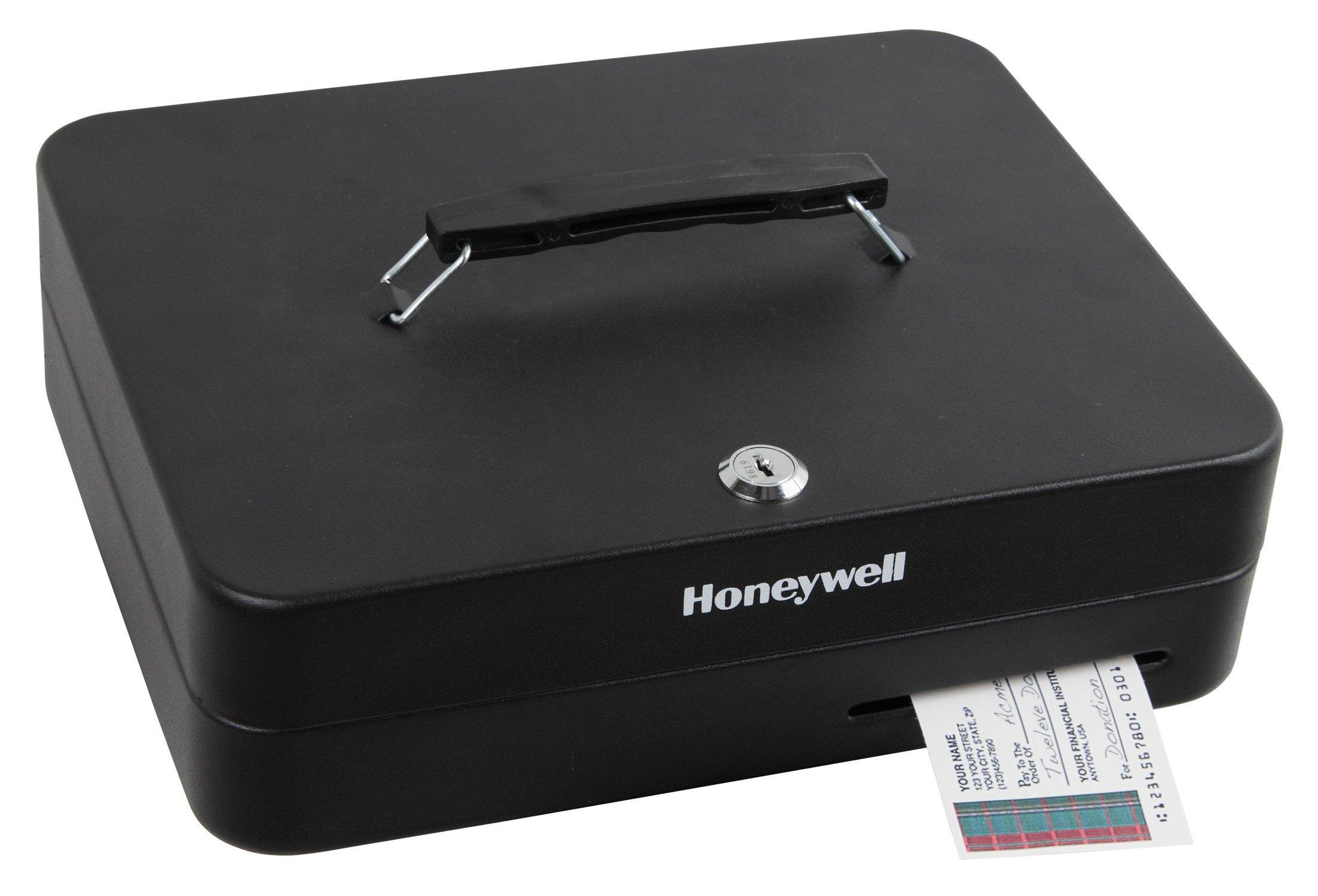 Honeywell Safes & Door Locks - 6113 Deluxe Key Lock Cash Box, 0.23-Cubic Feet, Black