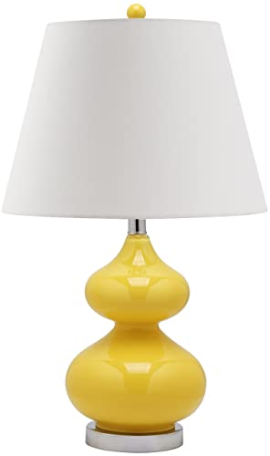 Safavieh Lighting Collection Eva Yellow Double Gourd Glass Table Lamp, 24