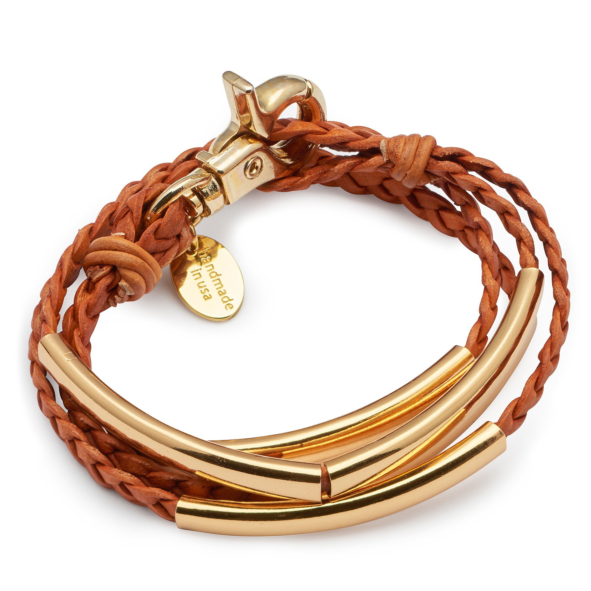 Lizzy James Mini Addison Wrap Bracelet Goldplate in Natural Orange Braided Leather Size Large