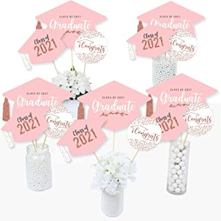 product image for Big Dot of Happiness Rose Gold Grad - 2021 Graduation Party Centerpiece Sticks - Table Toppers - Set of 15