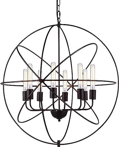 Elegant Lighting Vienna Collection 8-Light Pendant Lamp, Dark Bronze Finish