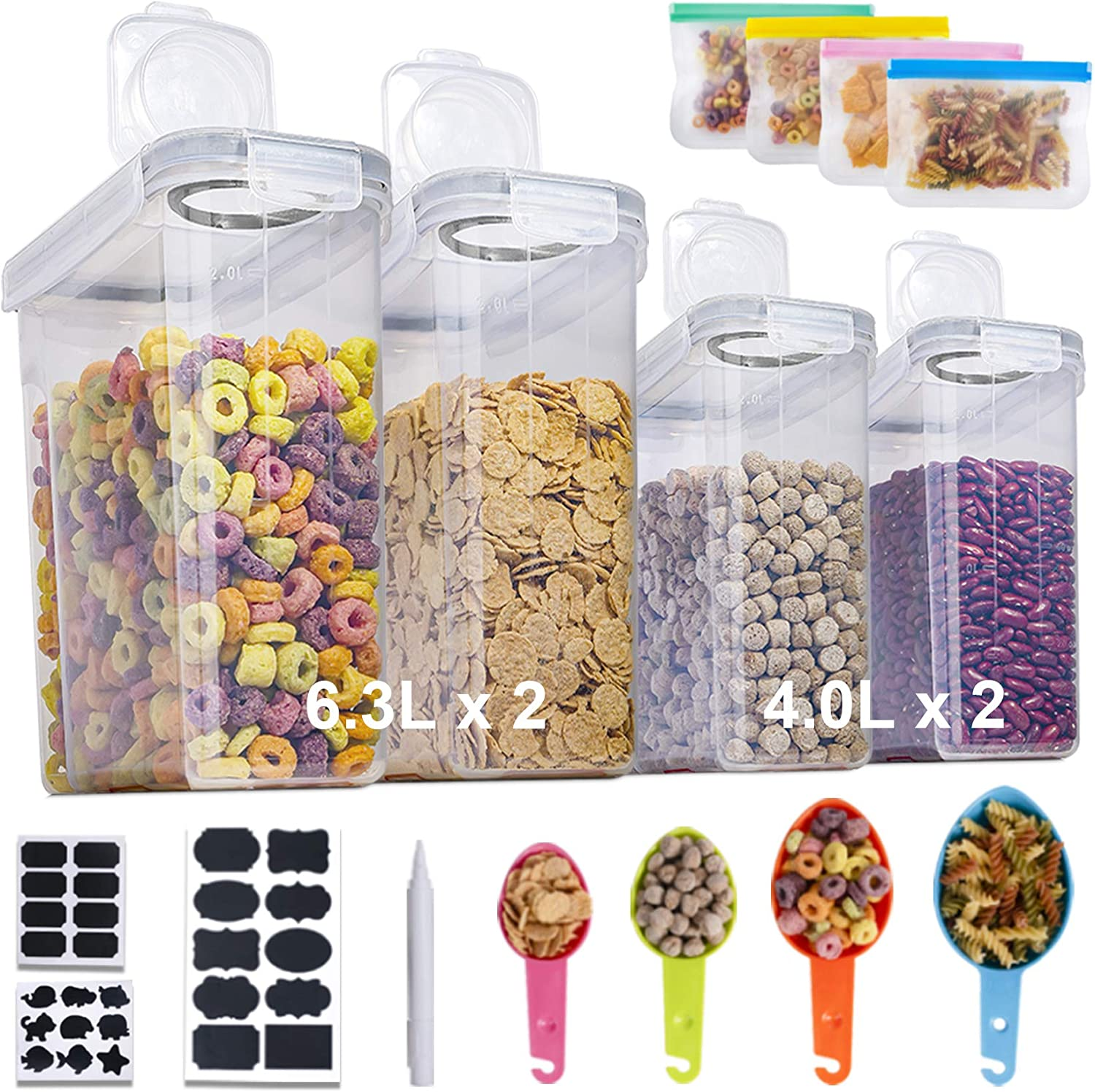 Extra Large Cereal Storage Container, 4 Pack Airtight Food Storage Containers for Pantry BPA Free Plastic Chips Container Extra Large Kitchen Storage Container for Flour Snacks Nuts Baking Supplies