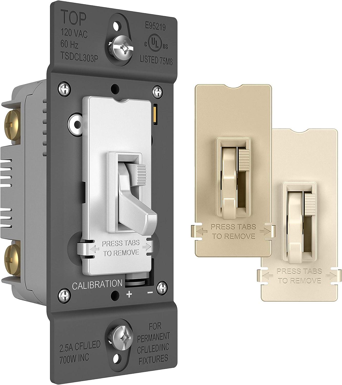 Pass /& Seymour T603LWV Toggle Dimmer 600-watt Three Way Lighted Easy Install Legrand White