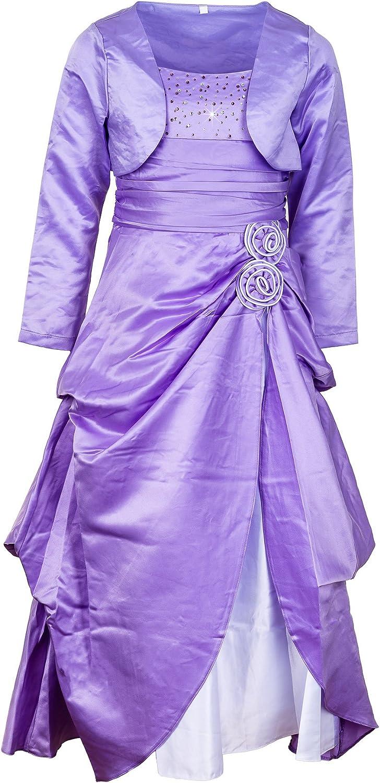 Prelest Festliches Mädchen Damen Kleid mit Bolero Kurz- oder Langarm in  vielen Farben M15Lfl Langarm Flieder 15/15 / 1215