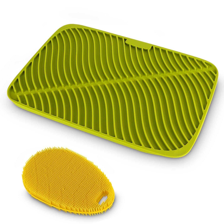 Belmalia Tappetino Scolapiatti Silicone + Spugna Ergonomica Silicone, Forma Onde, Dimensione Massima: 44x32x1cm, Blu Belmalia GmbH