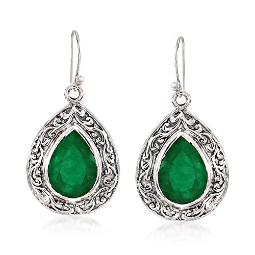 Ross-Simons 11.00 ct. t.w. Emerald Scroll Drop Earrings in Sterling Silver