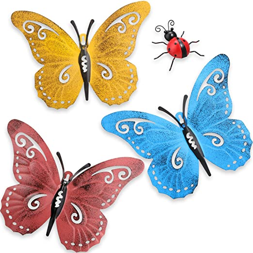 Hotop 4 Piezas Arte de Pared de Mariposa de Metal Decoración de Mariquitas de Jardín de Metal para Pared de Patio Interior Exterior Decoración de Esculturas Colgantes 3 Colores: Amazon.es: Hogar