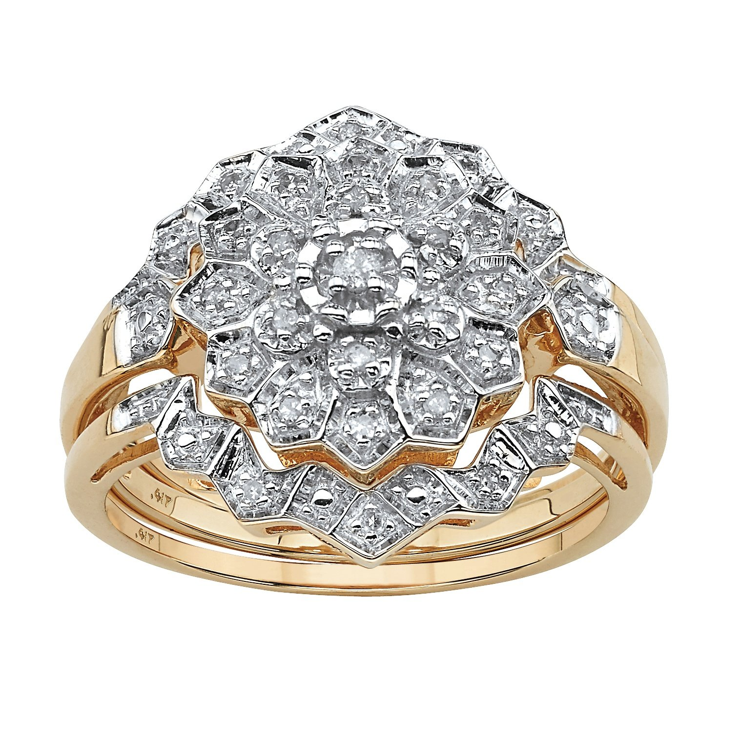 Solid 10K Gold Round Pave Diamond 3 Piece Pave Bridal Ring Set (.14 cttw, HI Color, I3 Clarity) Size 10