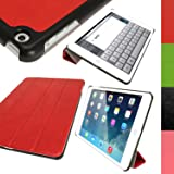 iGadgitz Premium Red PU Leather Smart Cover Case for Apple iPad Air 2013 With Auto Sleep Wake + Multi Angle Viewing Stand + Screen Protector