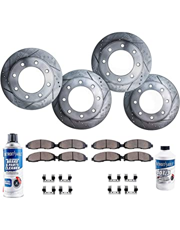 Detroit Axle - 8-LUG FRONT & REAR Drilled Slotted Brake Rotors & Ceramic Brake
