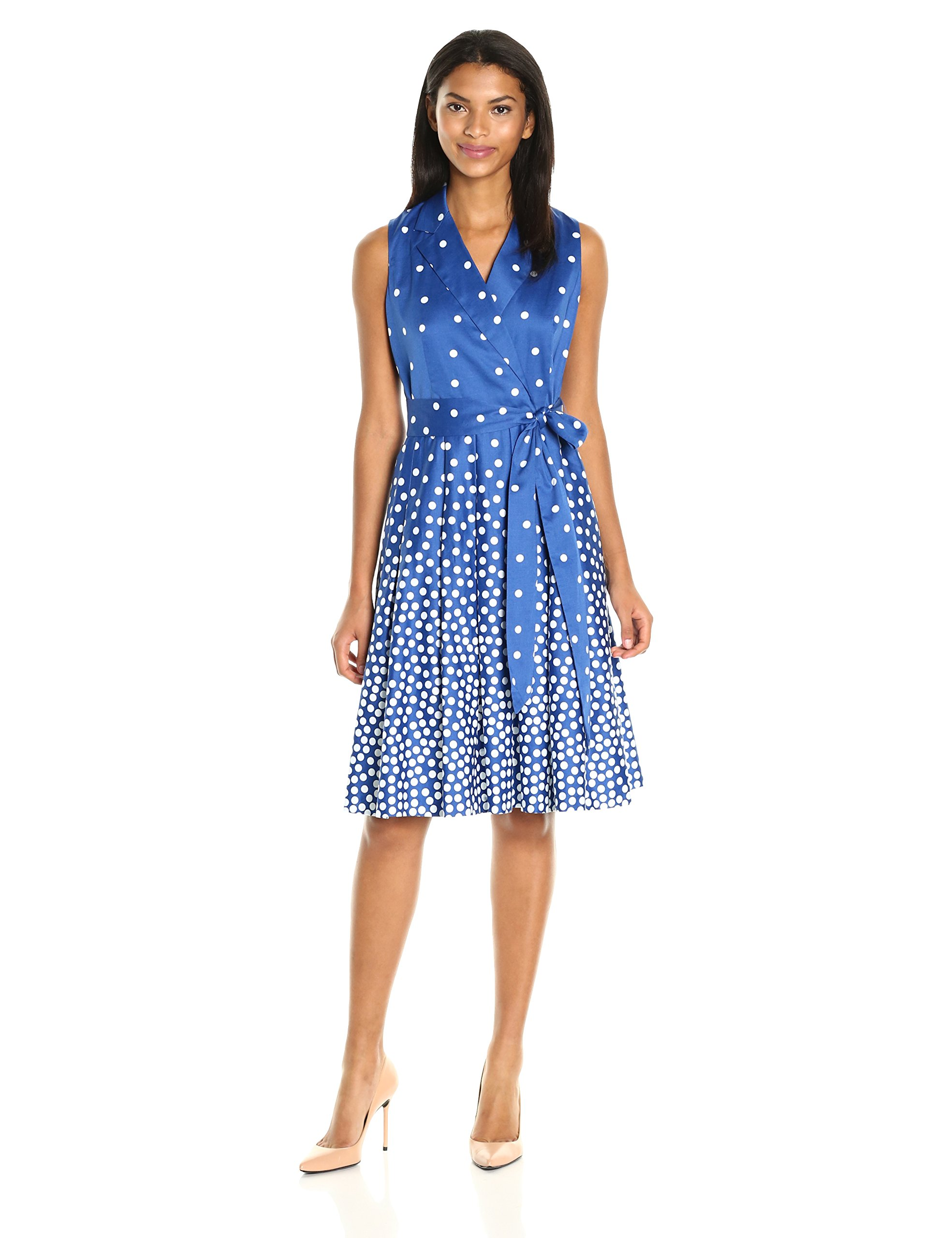 Anne Klein Women's Notch Collar Dot Print Self Belted Wrap Dress, Bluebell/Optic White, 6