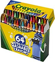 Crayola Ultra Clean Washable Crayons, Built in Sharpener, 64 Count