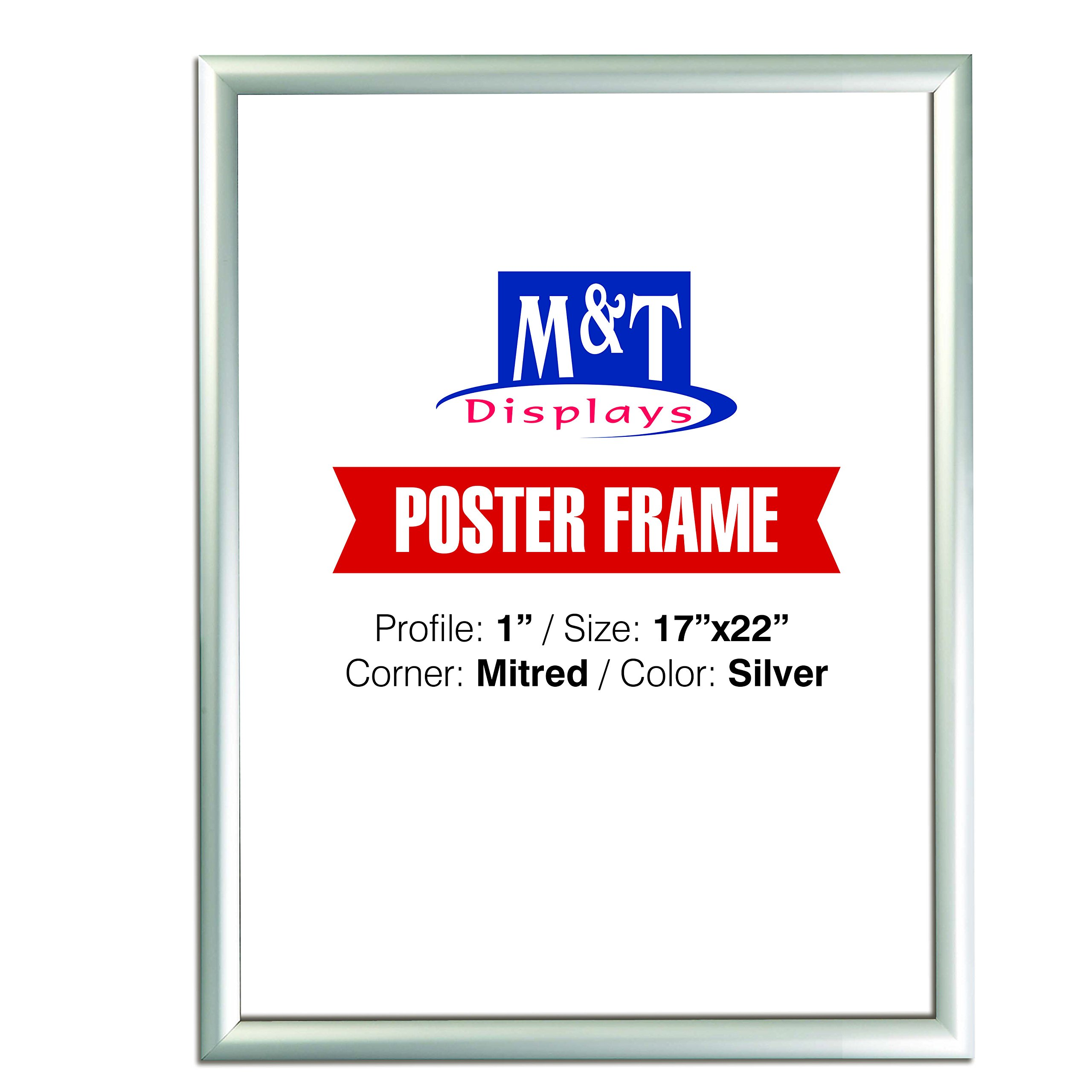 M&T Displays Snap Frame, 17x22 Poster Size 1'' Silver Color Profile, Mitred Corner, Silver, 1'' Mitred, Front Loading