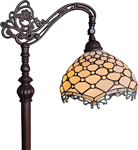Amora Lighting Tiffany Style Floor Lamp Jeweled Jagged Edge Arched 62 Tall Stained Glass White Tan Antique Vintage Light Decor Bedroom Living Room Reading Gift AM122FL12B, 12 Inch Diameter