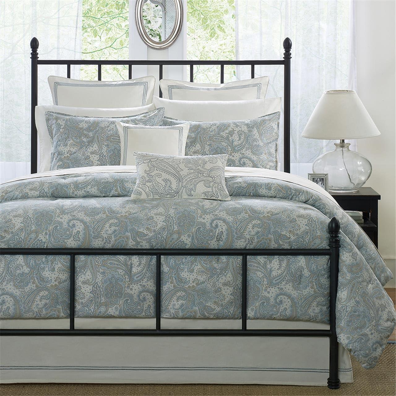 Harbor House Chelsea Queen Size Bed Comforter Set - Dusty Blue, Paisley – 4 Pieces Bedding Sets – 100% Cotton Sateen Bedroom Comforters