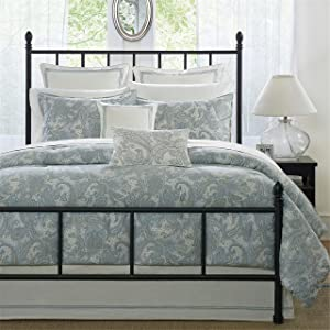 Harbor House Chelsea King Size Bed Comforter Set - Dusty Blue, Paisley – 4 Pieces Bedding Sets – 100% Cotton Sateen Bedroom Comforters