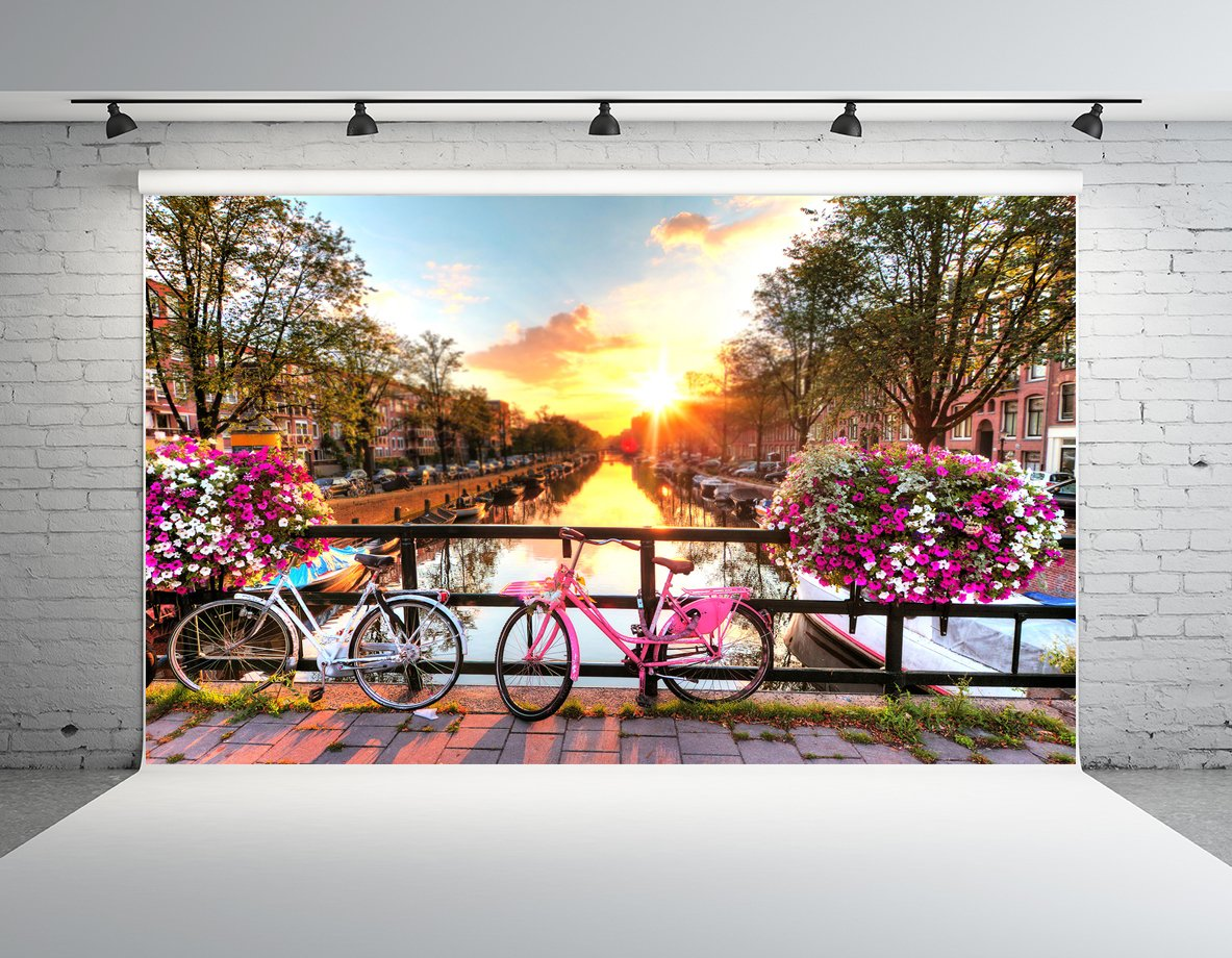 Kate 10x10ft Outdoor Spring Beautiful Scene Photography Backdrop River Bank Bicycle Photo Background
