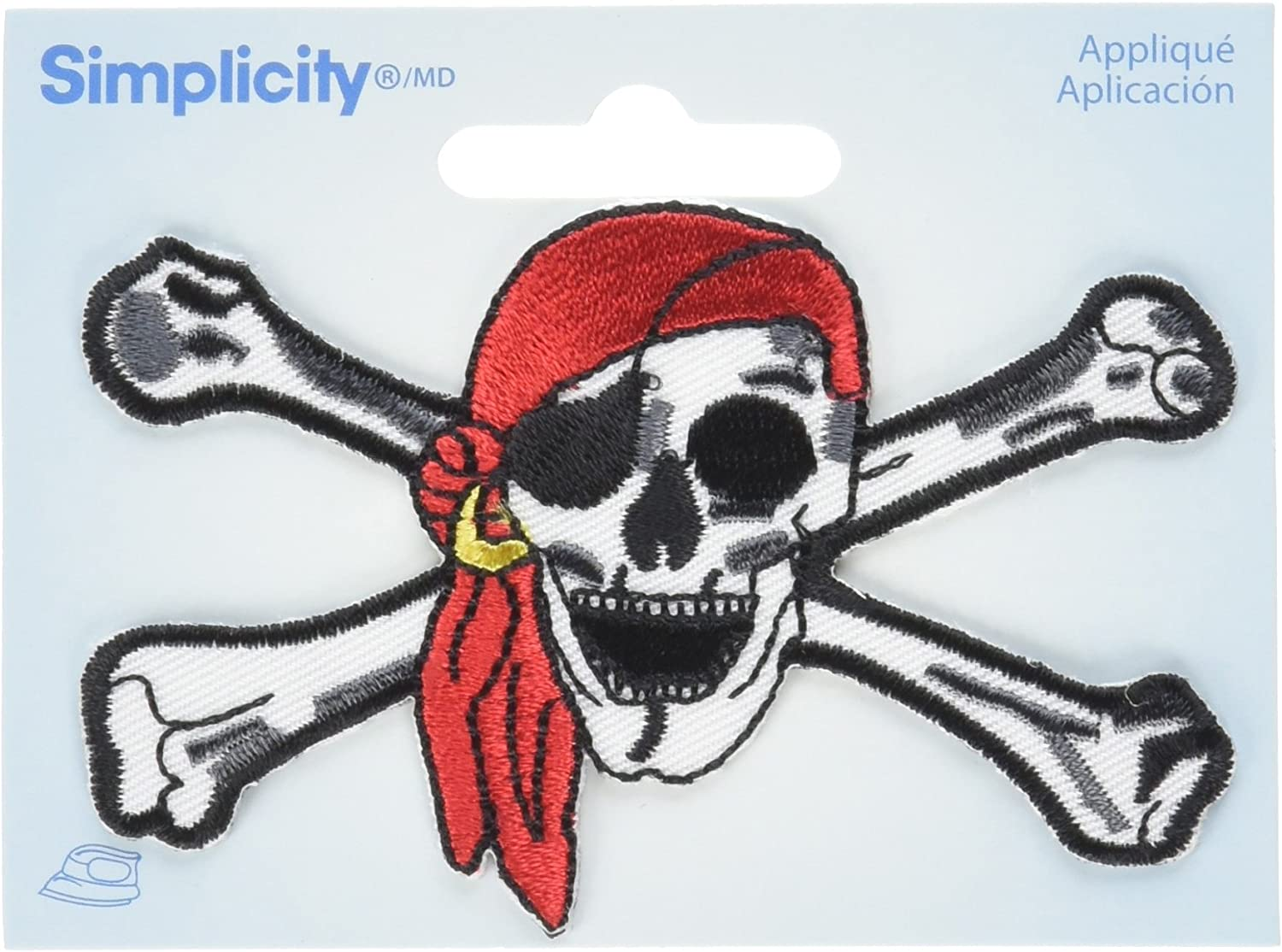 Wrights Iron-On Appliques-Pirate Skull 1-3/4
